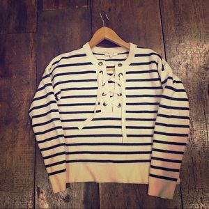 Madewell navy striped 100% merino wool sweater